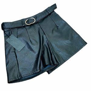 NEW Pronto Moda High Waisted Black Leather Shorts